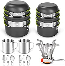 Odoland 16pcs Camping Cookware Mess Kit, Lightweight Pot Pan Mini Stove with 2 Cups, Fork Spoon Kits for Backpacking, Outdoor Camping Hiking and Picnic