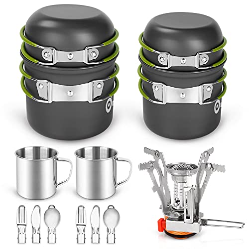 Odoland 16pcs Camping Cookware Mess Kit, Lightweight Pot Pan Mini Stove with 2 Cups, Fork Spoon Kits for Backpacking, Outdoor...