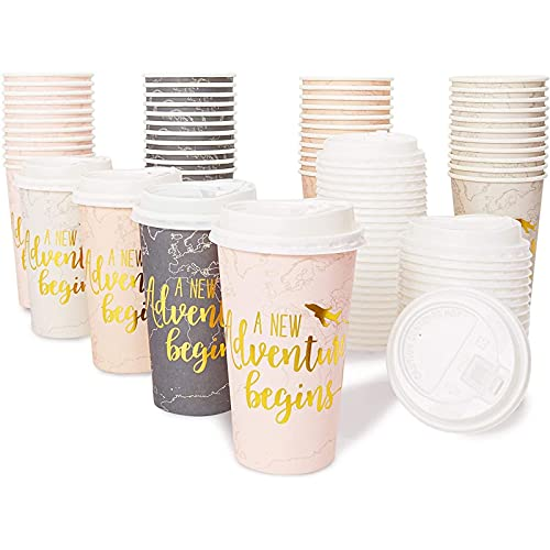 A New Adventure Begins Paper Coffee Cups for Baby Showers, Engagement Parties, Graduations (16 Oz, 48 Pk)