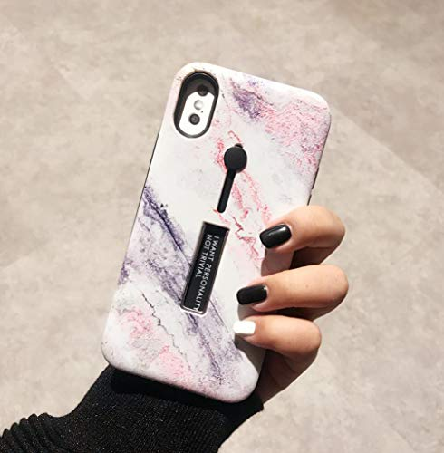 Omio for iPhone Xs Marble Case with Ring Grip Holder Kickstand Finger Circle Strap Shockproof Cover for iPhone X Loop Case Marble Stone Design Ultra Thin Smooth Anti-Scratch Case for iPhone Xs X 10