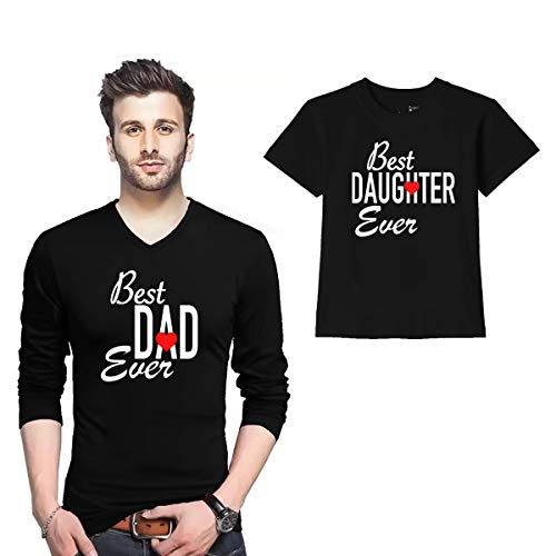 Wild Thunder V Neck Full Sleeve Dad and Kid Cotton T Shirts Best Dad Ever, Best Daughter Ever 1075 Printed Black Dad and Kid Matching T Shirt
