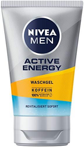 NIVEA MEN Active Energy Waschgel (100 ml), Reinigungsgel mit Koffein aus 100% natürlicher Quelle, erfrischende und gründliche Gesichtsreinigung
