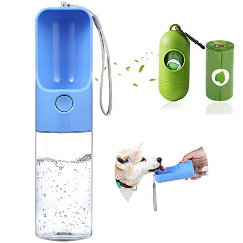Sofunii - Dispensador de botella de agua para perro, portátil, para viajes, senderismo, actividades al aire libre, a prueba de fugas, 15 onzas (azul)