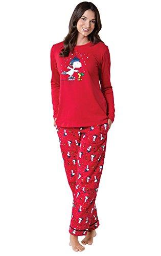 PajamaGram Christmas Pajamas Soft Cotton - Pajama Sets, Peanuts, Red, M, 8-10
