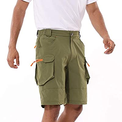 BALEAF Men's Golf Cargo Shorts Zipper Pocketes Stretch Quick Dry Lightweight Outdoor Casual Short Army Green XL