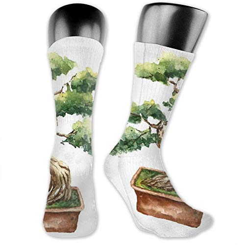Socks Compression Medium Calf Sock,Watercolor Style Bonsai Hand Drawn Japanese Tree Eastern Nature Inspired