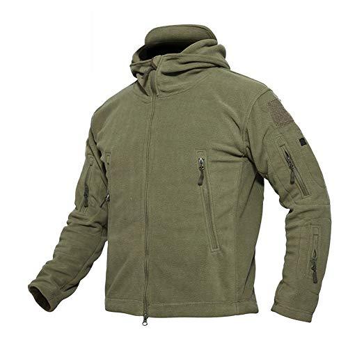 ANTARCTICA Hommes hiver chaud à capuchon militaire tactique polaire veste polaire (army green, xxl (tag 4xl))