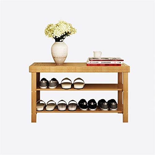 Banco de zapatos, organizador de zapatos de bambú de 2 niveles, equipo de zapatos, banco de zapatos, estante de zapatos de bambú para baño, pasillo, banco de almacenamiento de zapatos para hombres, mu