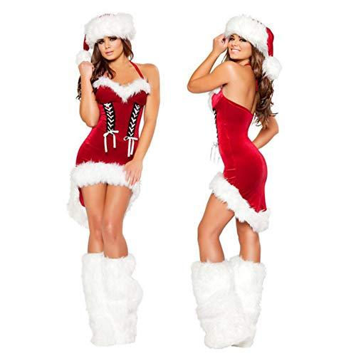 FAFY Costumi di Natale Sexy delle Donne di Babbo Natale Set di Pelliccia Abiti da Sposa per Le Signore Vestito Sexy Rosso,OneSize