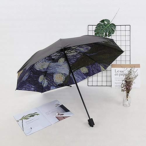 JIANG Literarische Retro-Regenschirm Dual-Use-Studentin Tinte Malerei Abteilung Göttin Falten Sonnenschirm Sonnenschutz Anti-UV-Innenzeichnung, innen zeichnen