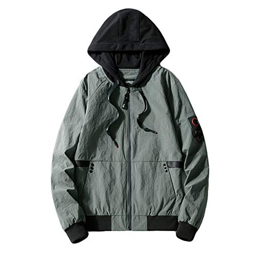 YOCheerful Sportswear Jacket for Men, Men's Spring Coat Boy Loose Pullover Long Sleeve Sweatshirt Sports Top Blouse (Gray,L)