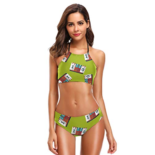 TIZORAX Womens Scoreboard Flat Icon Bikini Set Sexy Badpak voor Vrouwen