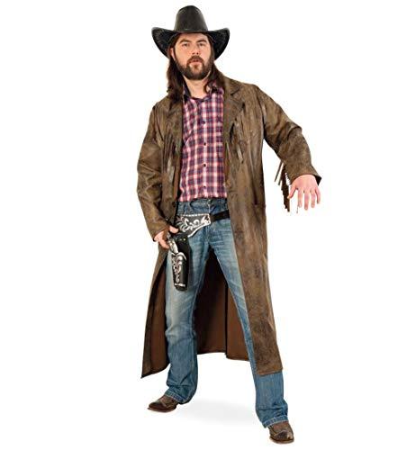 KarnevalsTeufel Herrenkostüm-Set Cowboy 4-teilig Western-Mantel mit Cowboyhut, Revolver-Gürtel und Spielzeug Revolver Dakota Sheriff Wilder Westen (Large)