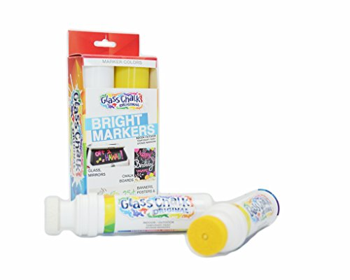 Glass Chalk The Original Patented Indoor/Outdoor Temporary Paint Marker for Auto Windows and Glass Surfaces, Sponge-Tip, Assorted Colors, White and Yellow, 2 Count