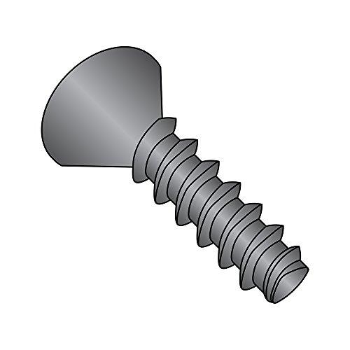 Steel Thread Rolling Screw for Plastic, Black Oxide Finish, 82 Degree Flat Head, Phillips Drive, #4-20 Thread Size, 3/8