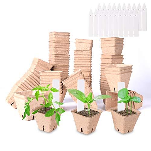 Set da Vasetti per Piantine,2.36 inch Piccolo Fibra biodegradabili vasi di Semi per piantine (102)