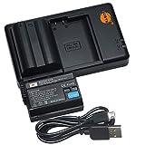 DSTE 2PCS EN-EL15(2550mAh/7.0V) Batería Cargador Compatible para Nikon 1 V1,Z6,Z7,D7200,D7100,D750,D600,D810,D800E,D810A,D800, Digital SLR Cámara,Nikon Batería Apretón MB-D11,MB-D12,MB-D15,MB-D17