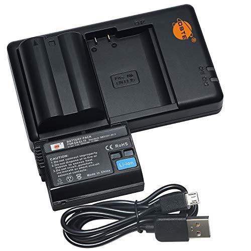 DSTE 2PCS EN-EL15 ENEL15 (2550mAh/7.0V) Batteria Caricatore Compatibile per Nikon 1 V1, Z6, Z7, D7200, D7100, D750, D7000, D800E, D810A