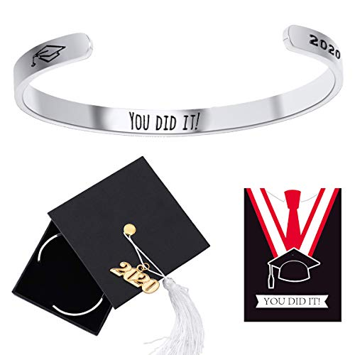 Ldurian 2020 Bracelet for Graduation, Grad Bangle for Her, Congrats Gift for High School Graduate, Graduation Jewelry with 2020 Cap Box & Card & Bag (Engraved You Did It)
