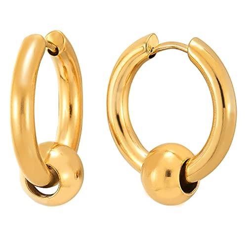 2 Color Oro Círculo Perla Pendientes del Aro, Pendientes para Hombres Mujer, Acero Inoxidable