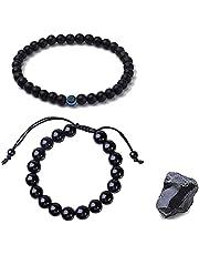 6Pcs Obsidian Lymphdraining Bracelet, Anti-Swelling Black Obsidian Anklet, Feng Shui Adjustable Weight Loss Bracelet, Natural Stone Magnetic Therapy Bracelet