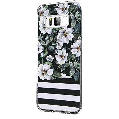 Riyeri Hülle Compatible with Samsung Galaxy S8 Hülle Klar Slim TPU Silikon Bumper Handyhülle für Samsung S8 Plus - Marmor & Blume (S8, 8)