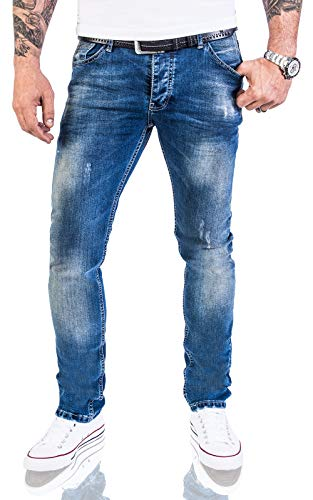 Rock Creek Designer Herren Jeans Hose Stretch Jeanshose Basic Slim Fit [RC-2113 - Denim Blau - W36 L30]
