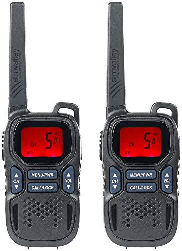 simvalley communications Funkgerät: 2er-Set Profi-Walkie-Talkies mit VOX, 10 km, USB, extragroßes Display (Handfunkgerät)