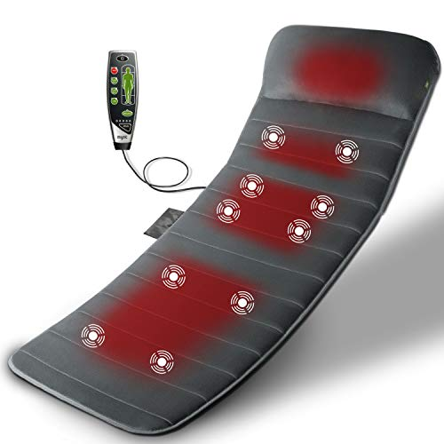 Mynt Massage Mat with Heat: Memory FoamCushion with 10 Vibrating Motors and 4 Therapy Heating Pads...