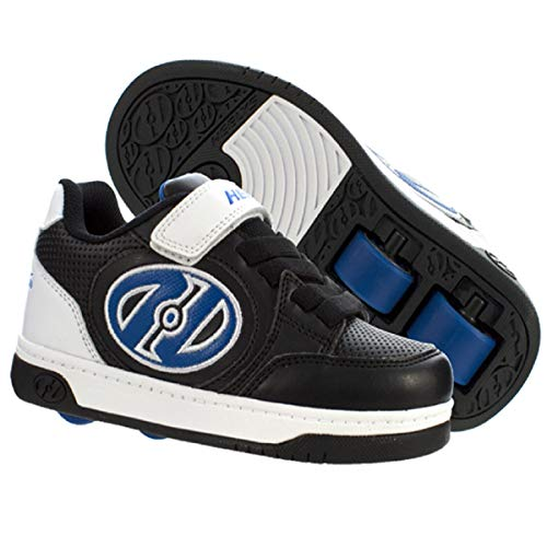 HEELYS Plus X2 | Wheeled Shoes for Boys 2 Wheeled (6 US Big Kid, Black/White/Blue)