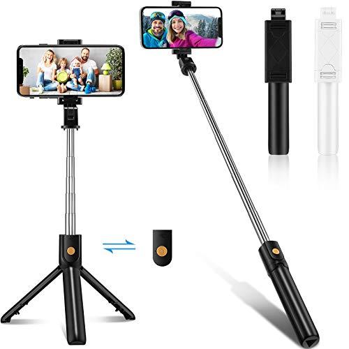 2 piezas selfie trípode palo todo en uno extensible selfie teléfono trípode trípode portátil con control remoto inalámbrico rotación de 270 grados para teléfonos celulares (negro, blanco)