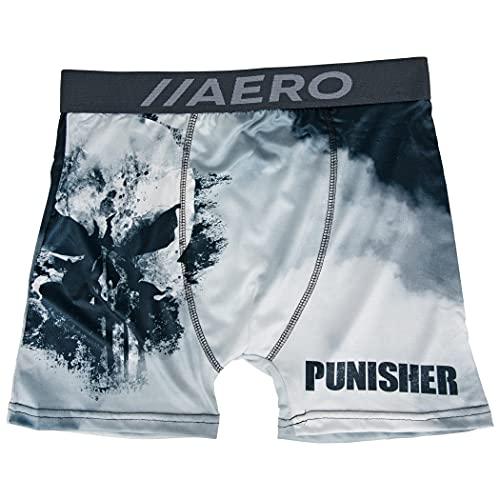 Marvel Punisher Smoke Skull Symbol Aero Boxer Briefs Underwear Medium (32-34) Black