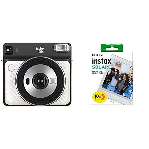 Fujifilm Instax SQ 6 EX D Sofortbildkamera, Pearl Weiß & Quadratischer Film, weißer Rand, 50 Stück