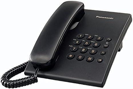 Panasonic KX-TS500 - Teléfono fijo con cable (tono configurable, montable en pared, compatible con audífonos), color negro: BLOCK: Amazon.es: Electrónica