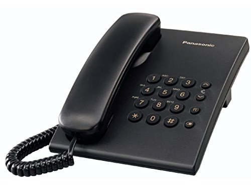 Panasonic KX-TS500 - Teléfono fijo con cable (tono configurable, montable en pared, compatible con audífonos), color negro