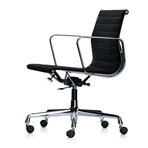 Vitra EA 117 Aluminium Chair Bürostuhl, Stoff schwarz Hopsak 66 Gestell aluminium poliert mit weichen Rollen