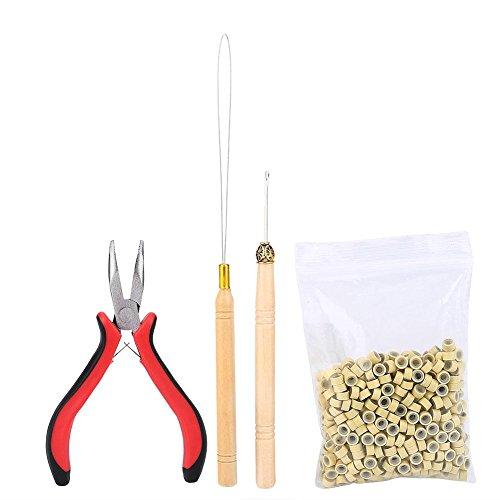 Filfeel Haarverlängerungs Kit Perücke Stecker Hair Extension Kit Zange Haken Schleife TIPP mit 500Pcs Micro Ringe Haarverlängerung Zubehör(Beige)