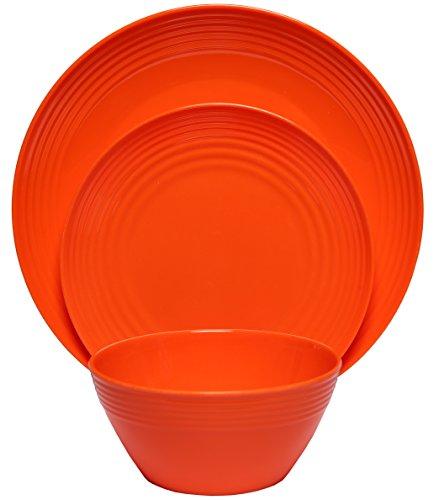 Melange 12-Piece Melamine Dinnerware Set (Solids Collection ) | Shatter-Proof and Chip-Resistant Melamine Plates and Bowls | Color: Orange | Dinner Plate, Salad Plate & Soup Bowl (4 Each)