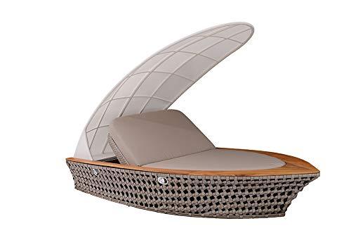Strandkorbwerk Loungemöbel AHOI - Outdoor Sonneninsel Schiff – NEUHEIT mit Gasdruckfedersystem Gartenlounge Outdoor Lounge für Garten, Terrasse oder Balkon - Geflecht/Teak ca. 290x159x77cm