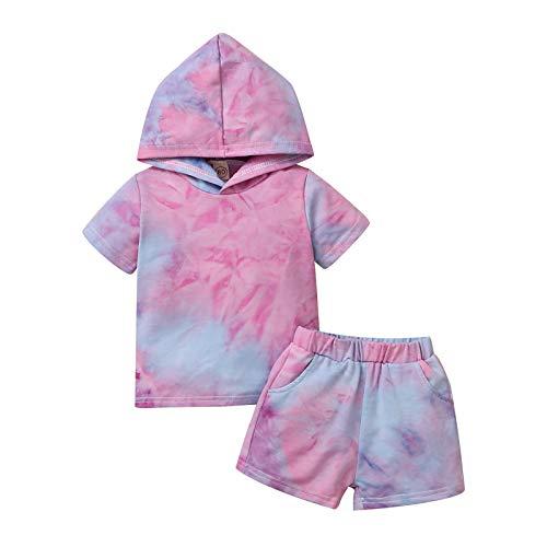 NCONCO Camisa de manga corta para niñas pequeñas, con teñido anudado y pantalones cortos para niñas de 1 a 5 años