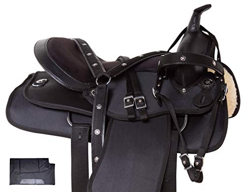 Acerugs Beautiful Western Pleasure Trail Barrel Racing Show Horse Saddle Free TACK Set PAD Silver Crystals (Plain Black, 17)