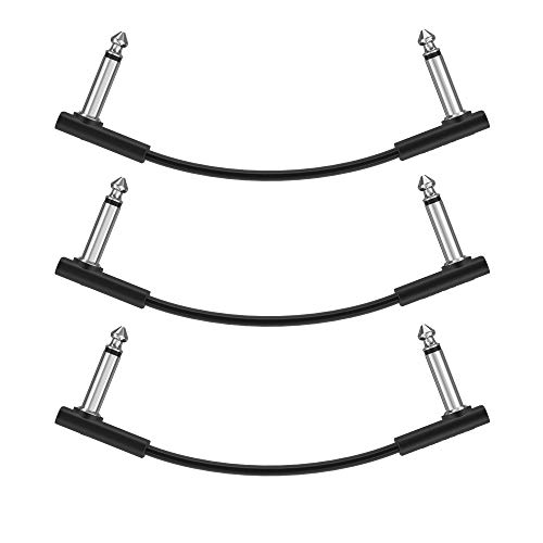 Donner 15cm Gitarren Effektpedal Kabel Patch Kabel Schwarz 3 Stück
