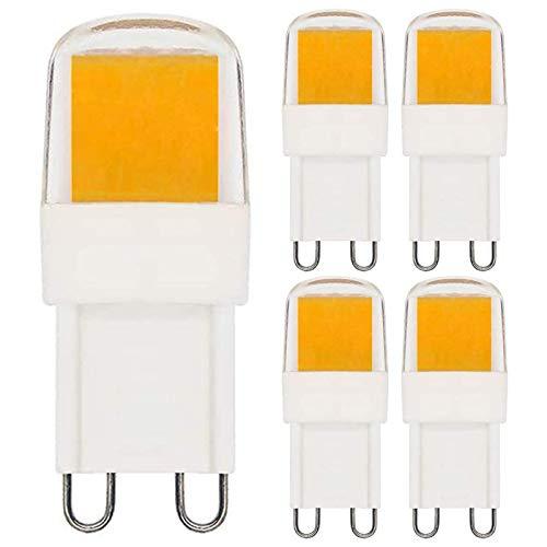 2W G9 LED Warmweiß 3000K Leuchtmittel Birne Ersetzt 10W 15W 20W Halogen Lampen, Kurzer Typ Dimmbar 230V, 5 Stück