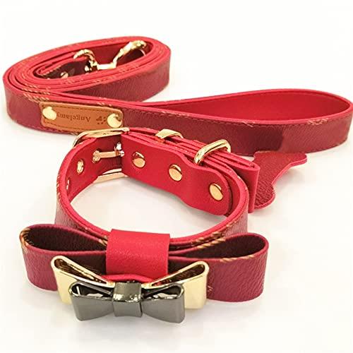 Chihuahua French Bulldog Cachorros de perro pequeño de cuero collar collar collar collar collar conjunto de cinturón (color rojo con pajarita, tamaño: L)