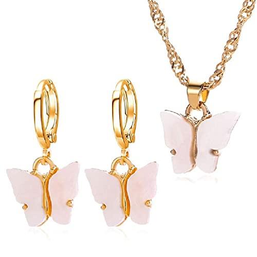unknows Conjunto de Joyas de Mariposa, Pendientes de Gota con Colgante de Mariposa de acrílico Elegante, Collar con Colgante de Mariposa pequeño y Delicado, Conjunto de Joyas para Mujeres y niñas