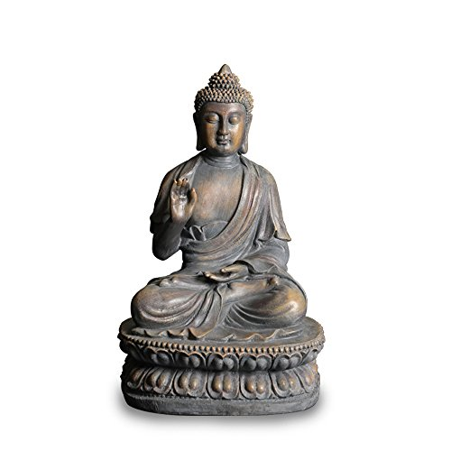 ARAIDECOR Buddha Sculpture Decor for Home&Outdoor Garden Statue - 15 x 8.7 x 10.2 Inches