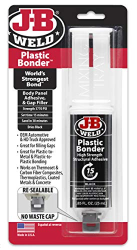 J-B Weld 50139 Plastic Bonder Body Panel Adhesive and Gap Filler Syringe - Black - 25 ml