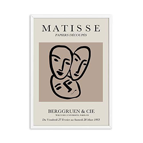 Pintura abstracta de Henri Matisse, ilustración minimalista, arte de pared, impresión, póster Retro, pared beige, lienzo sin marco, pintura A4 15x20cm