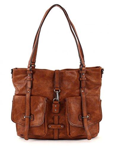 Tamaris BERNADETTE 2027171-305 Damen Shopper 36x30x12 cm (B x H x T), Braun (305 cognac 305)