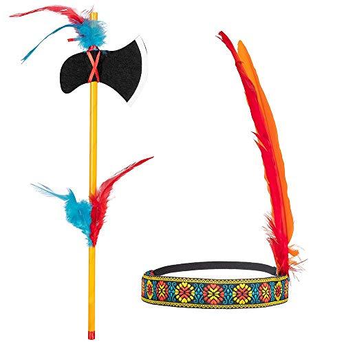 Boland 44093 - Indianer Set, Stirnband und Axt, Länge 35 cm, Tomahawk, mehrfarbig, dehnbar, mit Federn verziert, Häuptling, Wilder Westen, Kostüm, Karneval, Mottoparty